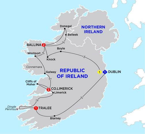 Blarney Ireland Map.Irish Wonder Summer 2019 Travelspan